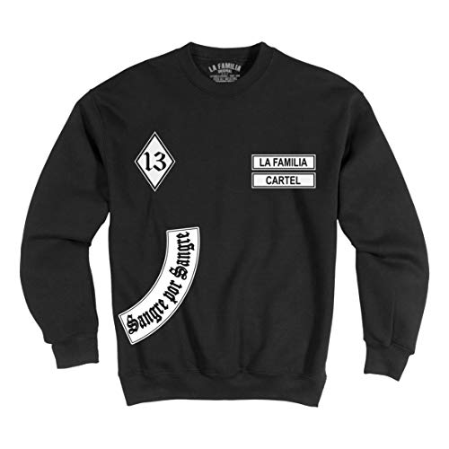 "LA Familia ORIGINAL Herren, Jungs, Ultras Sweatshirt, Schwarz, ""MC13"" Sweat Shirt Skull, La vida loca (5XL)"