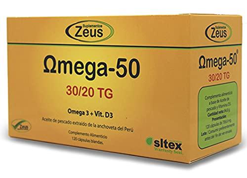 OMEGA-50 | Contribuye al funcionamiento normal del corazón | Complemento Alimenticio a base de Aceite de pescado y Vitamina D3 | 120 Cápsulas Blandas