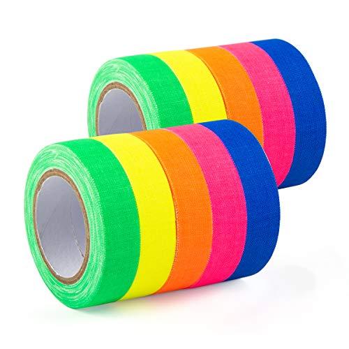 GIGALUMI 10 Stück Neon Klebeband UV Schwarzlicht Fluoreszierend Klebeband Neon Gaffa Tape in 5 Neonfarben (15mm x 5 m)