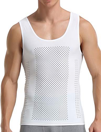 Chaleco de compresión para hombre gimnasio Body Shaper pecho liso camisa de compresión Casucal Running Hide Gynecomastia Moobs Tops, Hombre, color blanco, tamaño XL