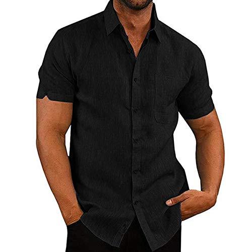 Camisa de Manga Corta para Hombre Camisas Informales de Lino para Verano Camisa Suelta de Ocio de Color Sólido con Botónes Top Blusa de Corte Recto con Bolsillo (Negro, XL)