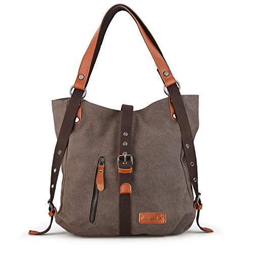 SHANGRI-LA Purse Handbag for Women Canvas Tote Bag Casual Shoulder Bag School Bag Rucksack Convertible Backpack - Coffee