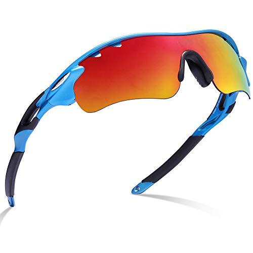 Gafas de sol deportivas-Carfia UV400 Protección Gafas de sol polarizadas para Bicicleta Acampada Golf Running con 5 lentes intercambiables (Marco azul)