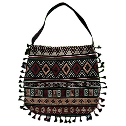 Bingxue Bolso de mano bohemio vintage de un solo hombro multicolor geométrico rayas flecos borla étnico hippie gitano gran capacidad bolso bolso