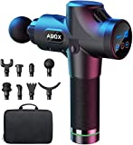 [2020 Upgrade] ABOX Massage Gun, 30 Speed Levels Percussion Deep Tissue Muscle Massager fitpulse Guns Ultra Quiet Motor with 8 Massage Heads for Athletes, for Recovery Pain Relief