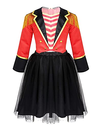 NC Cosplay, nios nias Circo Maestro de Ceremonias Traje de Lujo Traje Rojo de Manga Larga Malla tut Conjunto de Falda para Fiesta de Halloween