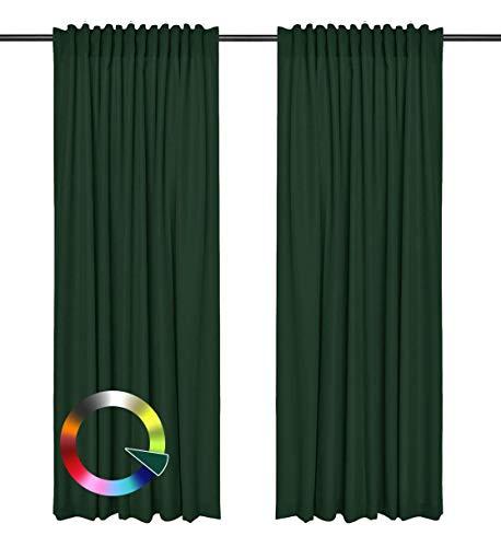 Rollmayer Vorhänge mit Tunnelband Kollektion Vivid (Flaschengrün 26, 135x240 cm - BxH) Blickdicht Uni einfarbig Gardinen Schal für Schlafzimmer Kinderzimmer Wohnzimmer