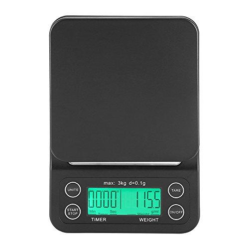 Fdit Báscula Digital Cocina de Café Electrónico de Goteo de Escala de Comida de 3KG / 0.1g LCD Digital Que Pesa con Contador de Tiempo (Verde)
