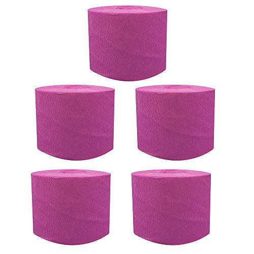 Gobesty Kreppbänder, 5 Rollen 25 M Krepppapier Dekoratives Seidenpapier Crepe Paper Kreppband für Geburtstagsparty, Hochzeit, Wanddeko Party Feier Weihnachten, Rose Red