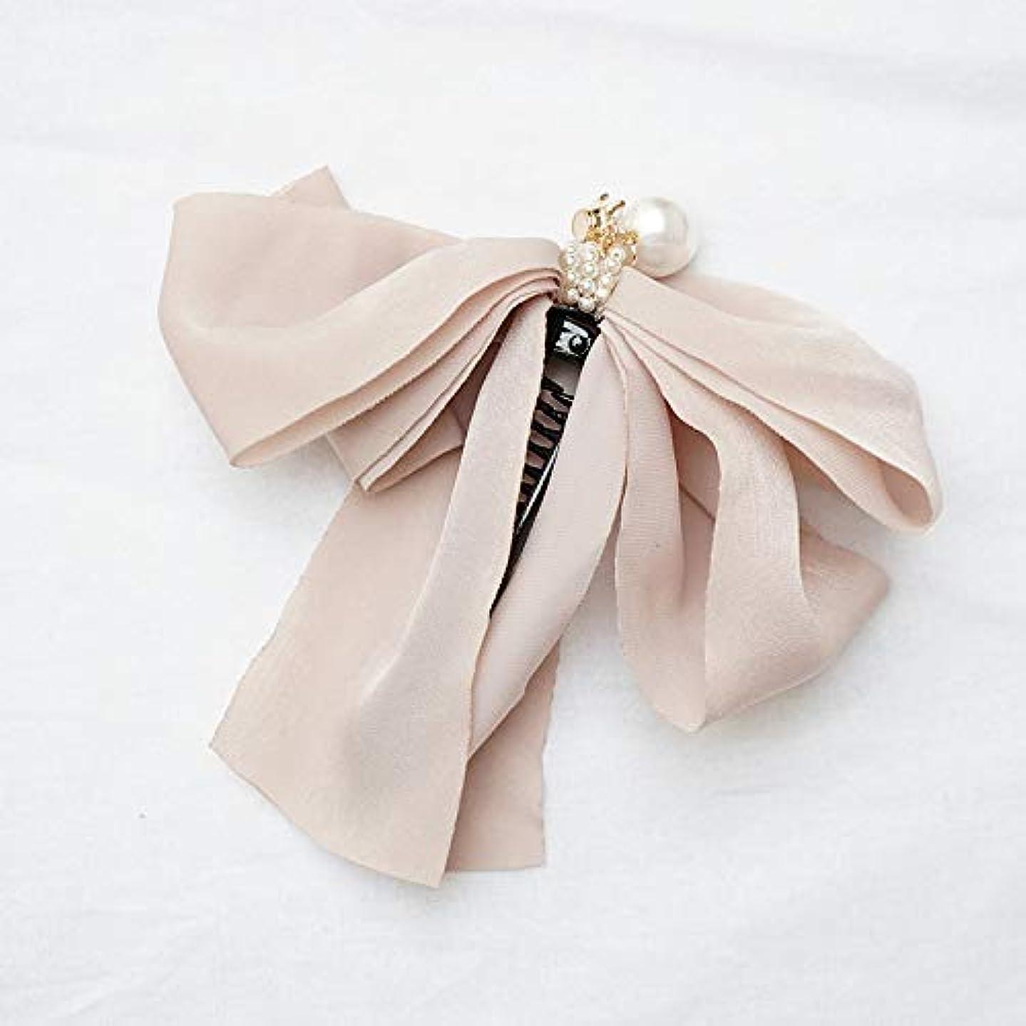 とティーム倒産蒸HuaQingPiJu-JP ファッションロゼットヘアピン便利なヘアクリップ女性の結婚式のアクセサリー(アプリコット)