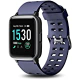 Letsfit Smart Watch, 1.3'' Color Touchscreen Fitness Tracker with Heart Rate Monitor, 5ATM Waterproof 14 Sport Activity Sleep Monitor Message Reminder for Men Women Kids iOS Android