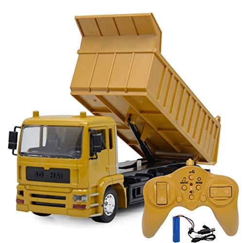 多機能 建設車両 RCカー トラック 子供のおもちゃの車 遠隔操作 六輪駆動 大きいサイズ USB充電式 子供贈り物 (ブラウン)