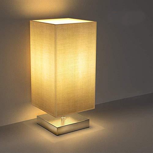 Tischlampe, Nachttischlampe für Schlafzimmer, TECKIN Stoff Schreibtischlampe Retro Nachtlicht, Minimalist Stoff Nachttisch-Leuchte für Schlafzimmer, Kaffeetisch and Büro (4w E27 LED Birne Enthalten)