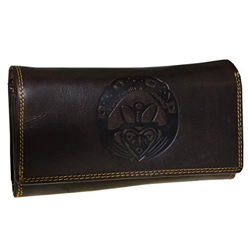 Große Damen Geldbörse Claddagh Prägung irisches Glückszeichen mit RFID NFC Schutz Portemonnaie (braun)