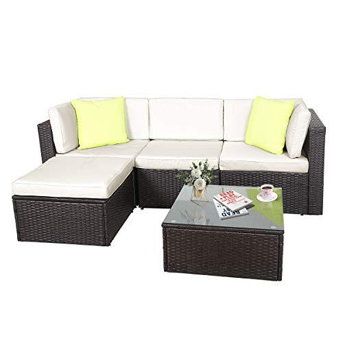 GOJOOASIS Polyratten Lounge, 5 Teilig Sitzgruppe, 200cm Gartenmöbel Garnitur für 3-4 Personen, Couch-Set in...