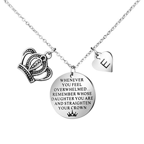 Joycuff Inspirational Gifts to My Daughter from Mom Dad Whenever You Feel Overwhelmed Remember Whose Straighten Your Crown Personalized Initial E Letter Necklaces for Her