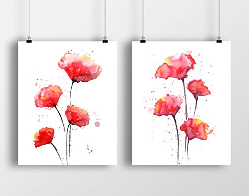 Red Poppies Watercolor Wall Art Print Set | Set of Two 8 x10 UNFRAMED Abstract Poppy Prints | Botanical, Floral, Modern, Flower Home Decor