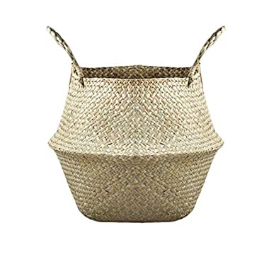 Samber Home Storage Organisation, Hand-Woven Foldable Plant Flower Pot Natural Seagrass Woven Basket Toy Storage Basket Wovening Laundry Basket Foldable Handcraft Weave Belly Basket Handle(A/M)