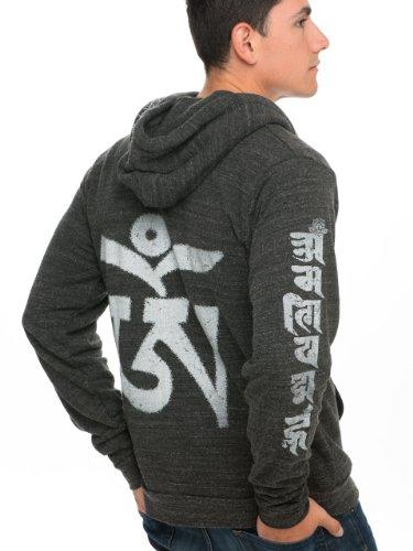 Super Buddha Men's'Tibet Om Mantra' Made in USA Triblend Zip Hoody, Onyx, X-Large