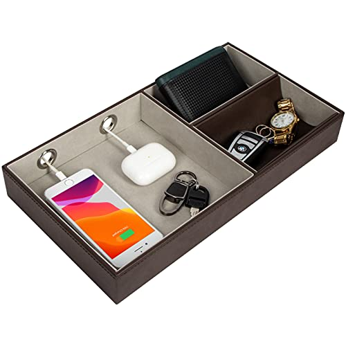 JACKCUBE DESIGN Nightstand Organizer for Men, Leather Valet Tray Key Wallet Phone Watch Glass Holder with 2 Charging Holes (Dark Brown, 14.2 x 7.7 x 2 inches) - MK234A