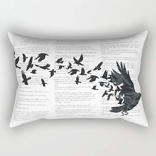Yuanmeiju Vintage Style Print With Poem Text Edgar Alan Poe Edgar Alan Crow Rectangular Pillowcase Cushion Cover 20x30 Inch