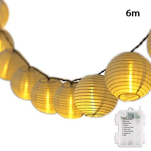 Salcar Led-lichtsnoer met batterij, 6 m lantaarns, decoratieve waterdichte verlichting op zonne-energie voor tuin, binnenplaats, huwelijk, feestdecoratie, warmwit