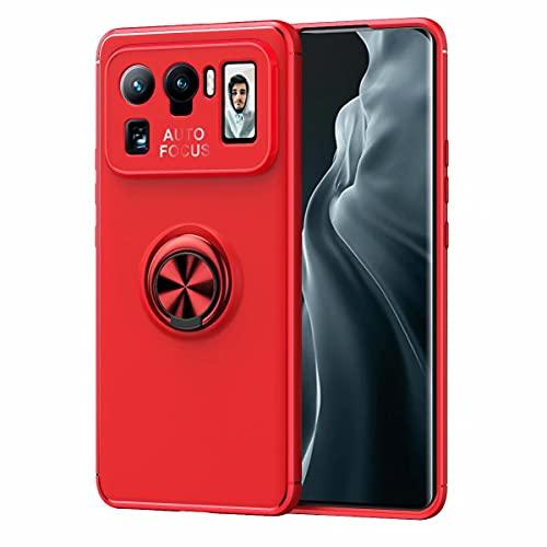 YIKLA Funda para Xiaomi Mi 11 Ultra, Suave TPU Silicona Carcasa, 360° Ring Magnético Bracket Case, Armor Bumper Antigolpes Case Cover, Rojo