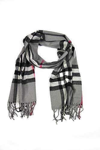 Sakkas Sakkas 1590 - Booker Cashmere Feel Solid Colored Unisex Winter Schal mit Fransen - Grau/Weiß Plaid - OS