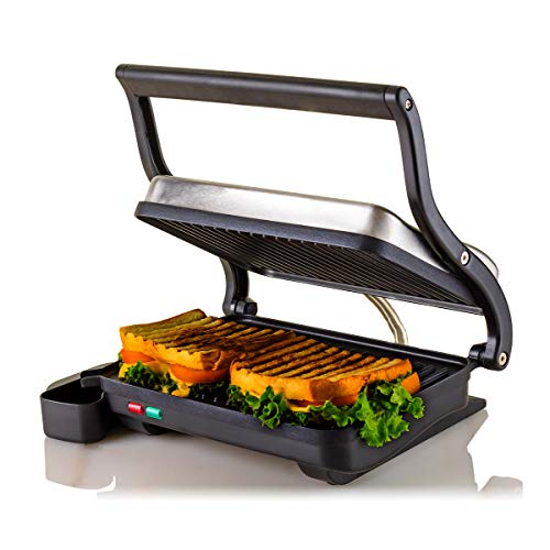 Ovente Electric Indoor Panini Press Grill with Non-Stick Double Flat Cooking Plate & Removable Drip...