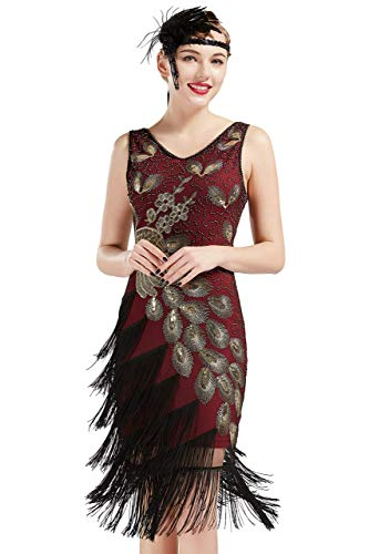 Coucoland 1920s Kleid Damen Pfau Flapper Charleston Kleid V Ausschnitt Great Gatsby Motto Party Damen Fasching Kostüm Kleid (Weinrot Gold, M)