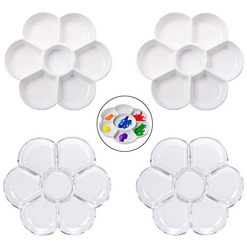 Confezione da 4 tavolozze rotonde di petali di fiori in plastica per pittura ad olio, acrilico, acquerello, gouache smaltato, palette di pittura ad acquerello, set regalo