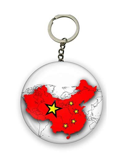 Gifts & Gadgets Co. Schlüsselanhänger mit chinesischer Flagge auf der Karte der Welt Schlüsselanhänger, 58 mm