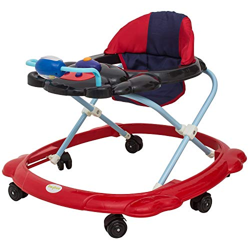 Baybee Tiny Baby Walker Round Kids Walker for Babies with Adjustable Height and Musical Toy Bar - Activity Walker for 7 Months to 18 Months Black & Red