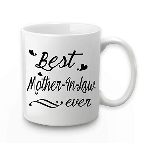 Taza de café con la mejor madre en la ley de la madre en la ley, mejor madre en la ley, regalos de cumpleaños, día de la madre, mejor madre en la ley, regalos de hijo, 11 oz con caja de regalo