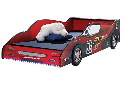 AVANTI TRENDSTORE - Meteor - Letto auto da corsa in legno MDF laccato rosso lucido con illuminazione LED compresa, senza rete a doghe, dimensioni: LAP 95x55x208 cm
