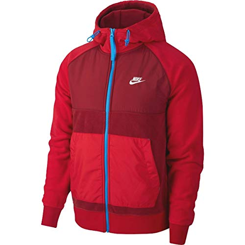 Nike Herren NSW Ce Full Zip Winter Hoodie T-Shirt, Rot (Team Red/Gym Red/Lt Photo Blue), (Herstellergröße: Medium)