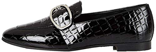 Amazon-Marke: find. Large Buckle Leather Loafer Slipper, Schwarz Black), 40 EU