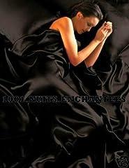 Idea Regalo - Set in raso per letto super king composto da copripiumino, lenzuolo con gli angoli e 4 federe, colore: nero