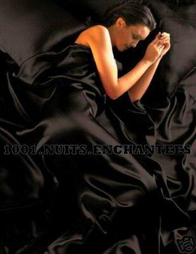 Set in raso per letto super king composto da copripiumino, lenzuolo con gli angoli e 4 federe, colore: nero