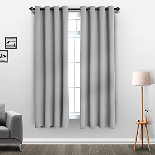 SUPRONLOVE Blackout Curtains for Bedroom - Window Drapes for Living Room with Room Darkening Noise Reducing Grommet Top Thermal Insulated Curtains, 2 Panels, Silver, 52 x 63 inch