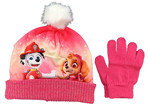 Genérico - Conjunto gorro y guantes patrulla canina talla 52 rosa