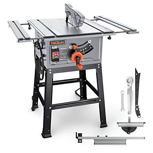 TACKLIFE Table Saw 10 Inch, 15-Amp 24T Blade 4800 RPM 45ºBevel Cutting With Pusher, Extended Desktop, Rip Fence, Miter Gauge, Heavy-Duty Metal Stand - MTS01A