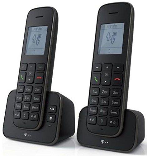 Telekom Sinus A207 DUO Schnurlostelefon mit AB schwarz - analoges DECT Telefon mit Anrufbeantworter und zusätzlichem Mobilteil, Blauer Engel