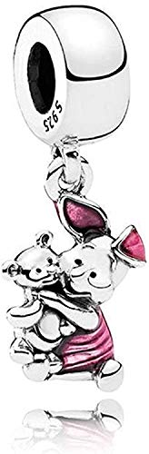 Beads R Us  Piglet holding his beloved teddy bear, with cerise enamel, Dangle Charm in Solid Sterling Silver Hallmarked S925, Compatible with all European style Charm Bracelets, Necklaces & Anklets.