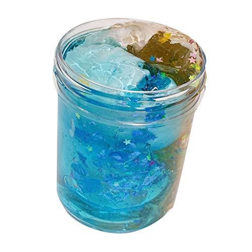 Morran DIY Fluffy Slime Kinder Galaxy Spielzeug Crystal Schleim Fluffy Slime Farbabstimmung Farbverlauf Kristallschlamm Stress Relief Schlamm für Kinder Erwachsene(Yellow Blue,120ml)