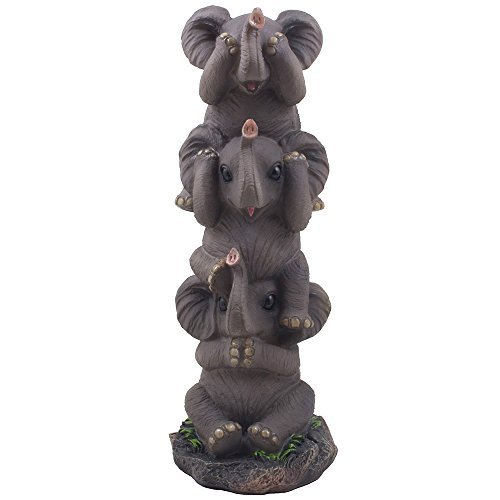 See, Hear and Speak No Evil Elephants Totem Statue for African Jungle Safari Decor or Whimsical Animal Figurines As Decorative Birthday Gifts That Bring Luck