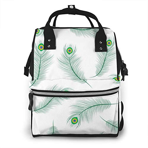 NHJYU Wickeltasche, Large Capacity Waterproof Travel Ma-na-ger,baby Care Replacement Bag Versatile Stylish And Durable, Suitable For Mom And Dad,Peacock Feather Seamless Texture Peacock Feathers