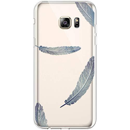 Hpory Funda para Samsung Galaxy S6 Edge Plus, Suave TPU Silicona Transparente Flexible Trasera Bumper Protección Funda Case Cover Cáscara Carcasa para Samsung Galaxy S6 Edge Plus - Plumas Azul