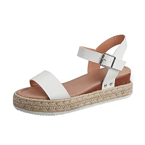 Adeliber Women The New Sandals 2021 Large Size Summer Comfortable Solid Color Slope With Buckle Strap Female Sandals (White, numeric_10_point_5)