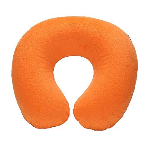 Almohada de viaje en forma de U para reposacabezas de cuello, microesferas, relleno de almohada de vuelo suave y colorido para soporte de cabeza de coche AirPlane (color naranja)